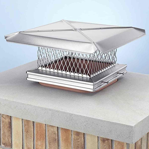 8'' x 17'' Gelco Stainless Steel Chimney Cap - 3-4'' Mesh