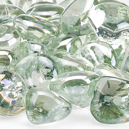"Rain Drop Luster Zircon Fireglass Fire Pit Glass - 1"" - 2""-10 lb"