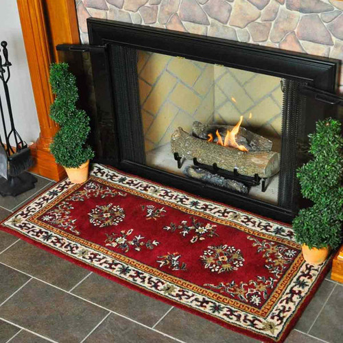 56'' Rectangle Burgundy Oriental Fireplace Rug