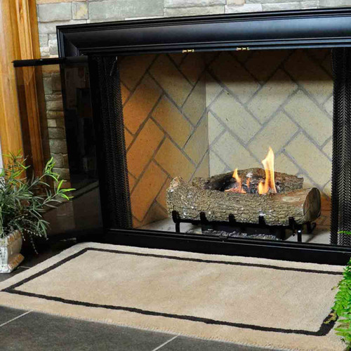 44'' Rectangle Khaki with Taupe Contemporary Hearth Rug