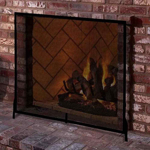 Colonial Flat Fireplace Screen-Graphite