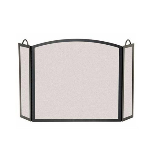 Pilgrim Full Arch Three Panel Fireplace Screen - Matte Black 46'' Wide