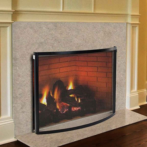 Pilgrim 39'' x 31'' Black and Polished Nickel Odessa Bowed Fireplace Screen
