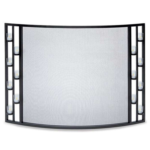 Pilgrim Matte Black 44'' x 31'' Tea Light Bowed Fireplace Screen - 18340