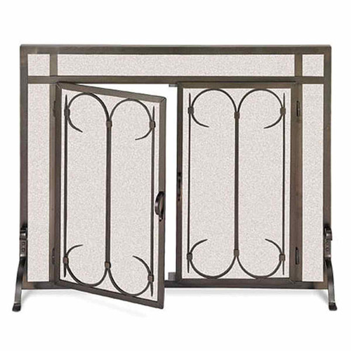Pilgrim Iron Gate Fireplace Screen w/ Straight Doors - Burnished Black 44'' x 33''