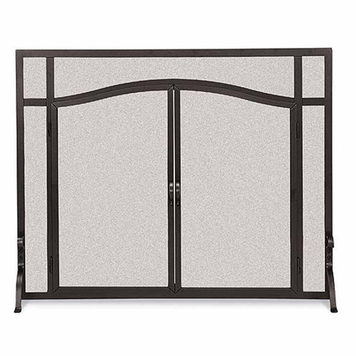 Pilgrim Forged Iron Arched Door Screen - Black