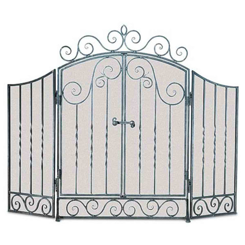 Pilgrim Vienna Fireplace Screen with Doors - Brushed Pewter