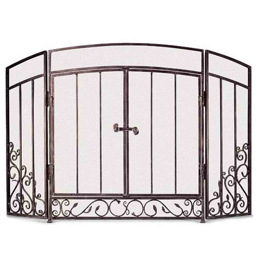 Pilgrim Renaissance Fireplace Screen with Doors - Brushed Bronze