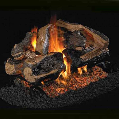 18''/20'' Peterson Real Fyre Vented Charred Rugged Split Oak Gas Logs - Logs Only