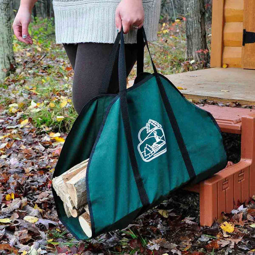 Green Firewood Carrier with Black Trim