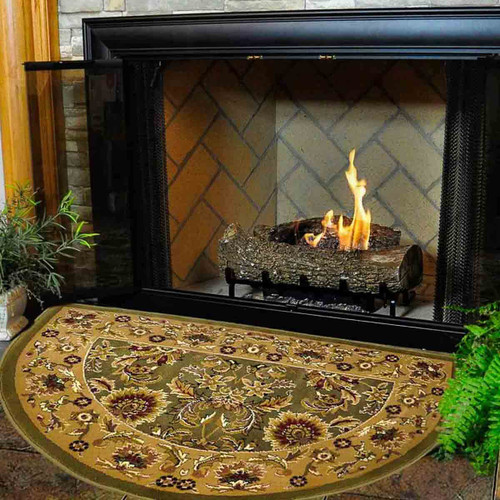 46'' Half Round Green and Taupe Kashan Hearth Rug