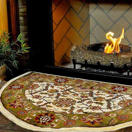 46'' Half Round Ivory and Green Floral Hearth Rug