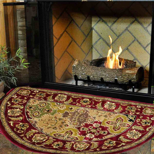 46'' Half Round Red Kashan Hearth Rug