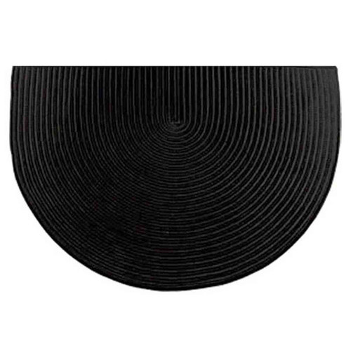 46'' Half Round Black Solid Color Braided Hearth Rug