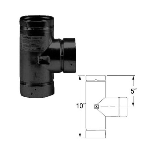 4'' Selkirk VP Pellet Vent Pipe Tee with Tee Cap - Black - 4VP-TSB