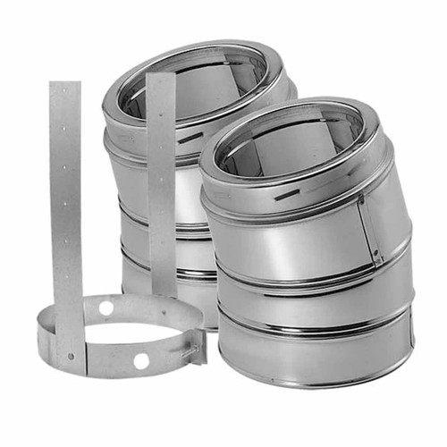 6'' DuraTech 15 Degree Stainless Steel Elbow Kit - 6DT-E15KSS
