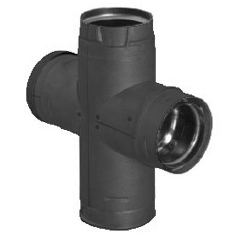3'' PelletVent Pro Double Tee with Clean-Out Tee Cap - Black