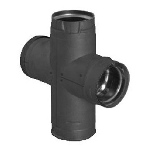 4'' PelletVent Pro Black Double Tee with Clean-Out Cap - 4PVP-DBTB