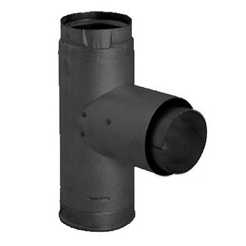 4'' PelletVent Pro Adapter Tee with Clean-Out Tee Cap - Black - 4PVP-TADB