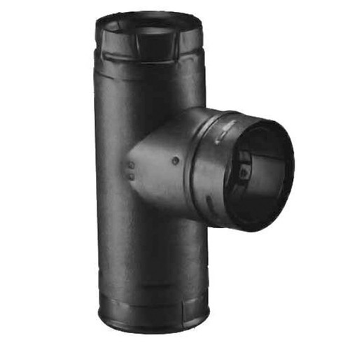 4'' PelletVent Pro Black Single Tee with Clean-Out Tee Cap - 4PVP-TB