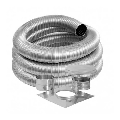 7'' DuraFlex Smooth Wall Basic Kit with 30' Flexible Stainless Steel Chimney Liner - 7DFSW-30K