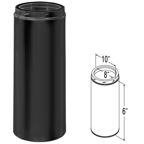 8'' x 6'' DuraTech Black Chimney Pipe - 8DT-06B