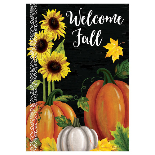 Fall Banner Flag - Pumpkin Trio Wlecome