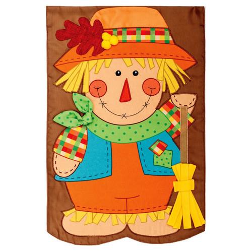 Fall Garden Flag - Scarecrow With Broom