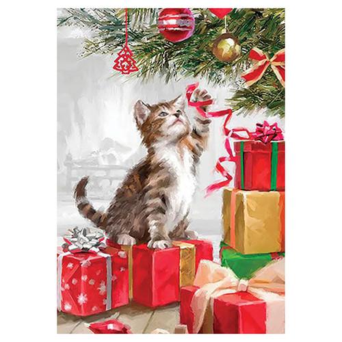Christmas Garden Flag - Christmas Kitten