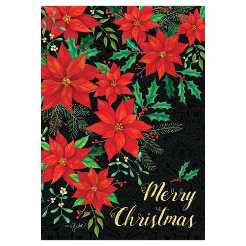 Christmas Garden Flag - Christmas Poinsettia