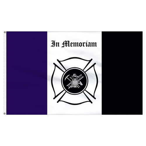 Fireman Mourning Flag 3ft x 5ft Nylon