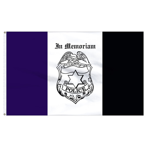 Police Mourning Flag 3ft x 5ft Nylon