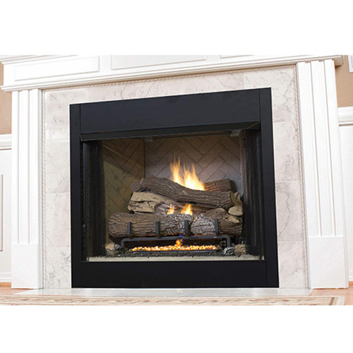 """Superior 42"""" VRT3500 Series Vent-Free Circulating Smooth Face Fireplace - White Stacked Liner"""