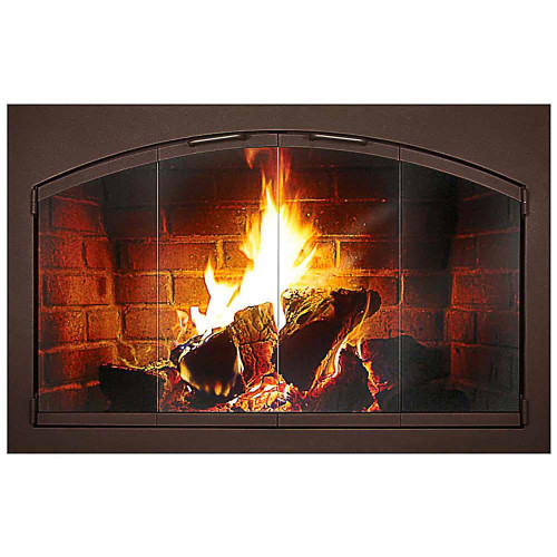 Heritage Rectangle Frame with Arched Doors Custom Masonry Fireplace Door