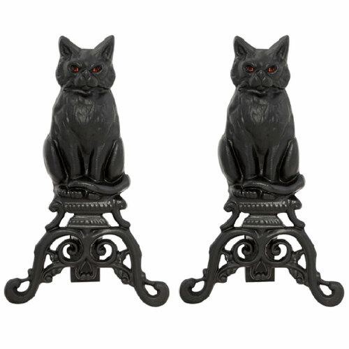 Cat Cast Iron Fireplace Andirons - Black