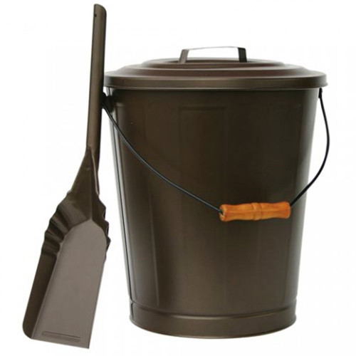Bronze Ash Bin with Lid and Shovel