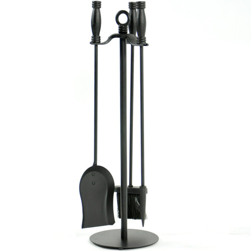 4 Piece Wrought Iron Black Fireplace Tool Set - F-1048