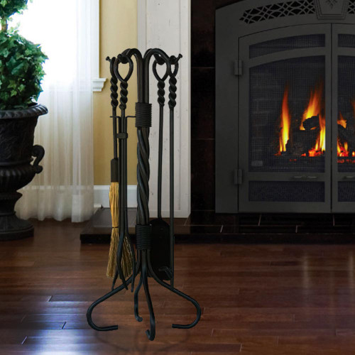 5 Piece Olde World Iron Ring and Swirl Fireplace Tools