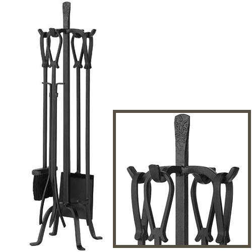 5 Piece Olde World Iron Fireplace Tools with Loop Handles