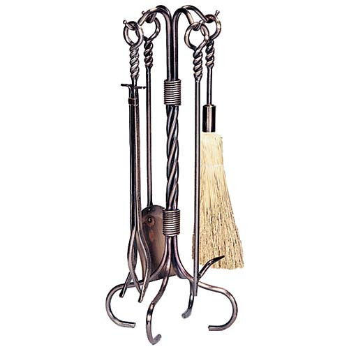 5 Piece Antique Copper Wrought Iron Fireplace Tool Set - F-1323