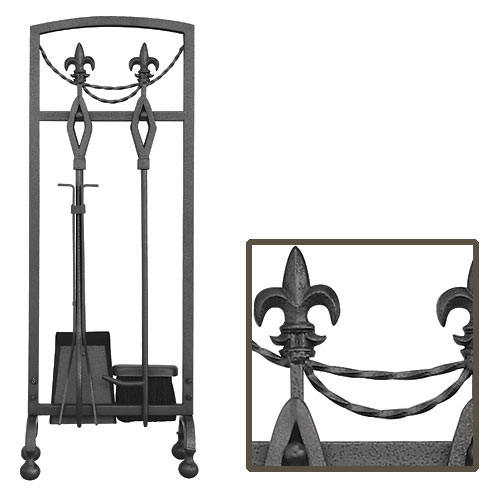 5 Piece Olde World Iron Fleur-de-lis Fireplace Tool Set