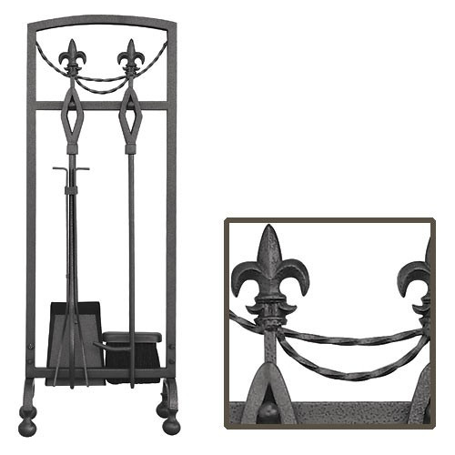 5 Piece Olde World Iron Fleur-de-lis Fireplace Tool Set - Less Than Perfect