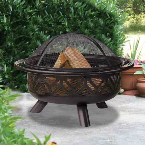 Oil Rubbed Bronze Firebowl with Geo Design
