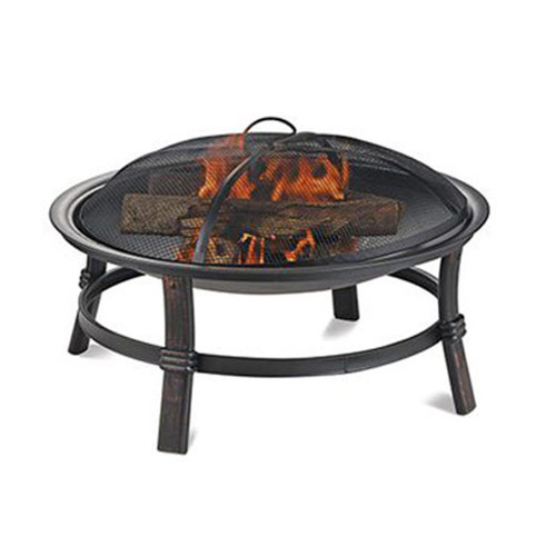 Brushed Copper Wood Burning Outdoor Firebowl- Round