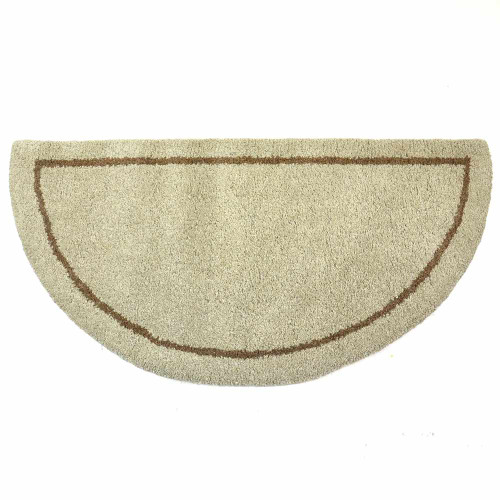 44'' Beige Hand Tufted Wool Hearth Rug