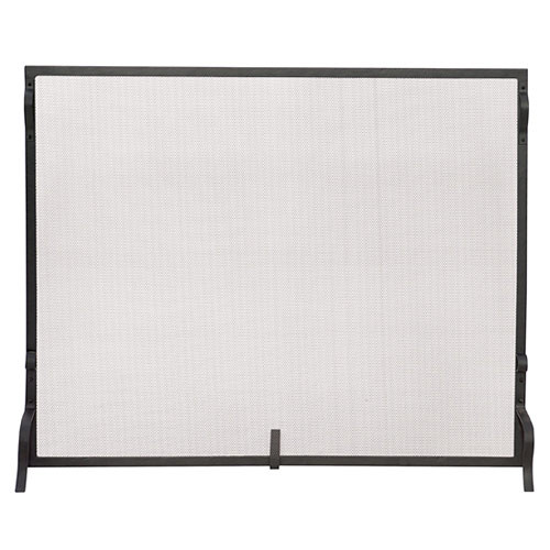 Wrought Iron Sparkguard Fireplace Screen- Black