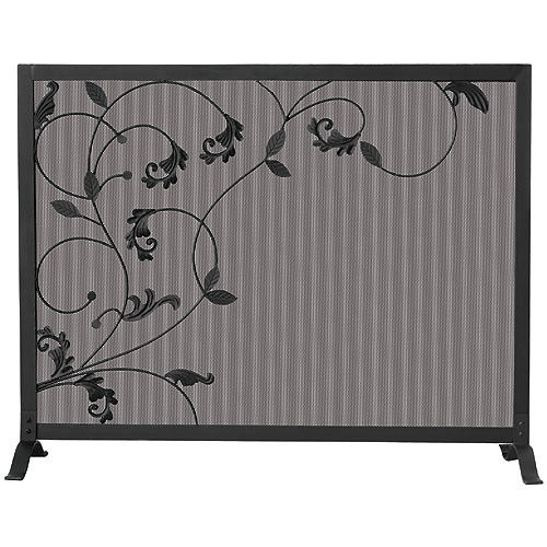 Single Panel Fireplace Screen with Flowing Leaf Design