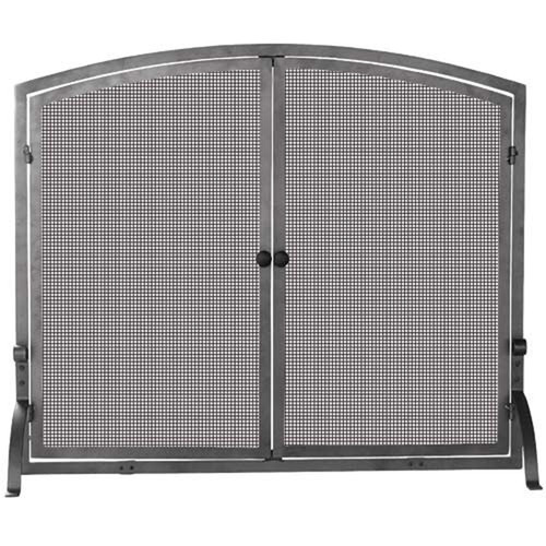 Medium Single Panel Olde World Iron Fireplace Screen with Doors