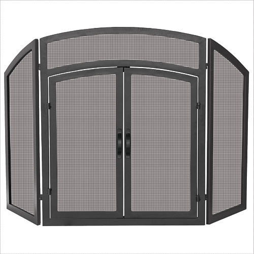 3 Panel Black Wrought Iron Arch Top Fireplace Screen with Doors