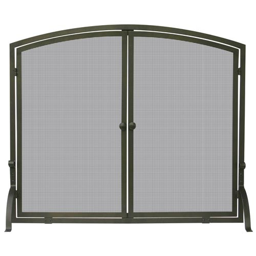39'' x 33'' Single Panel Bronze Finish Fireplace Screen with Doors